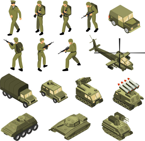 military vehicles soldiers commanders set Military vehicles soldiers commanders set of isolated tactical transport units and fighting entities with human characters vector illustration military uniform stock illustrations
