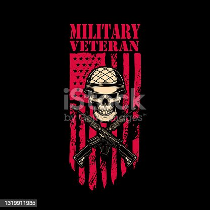 istock Military veteran. Skull in army helmet with crossed assault rifles on american flag background. Design element for label, sign, emblem. Vector illustration 1319911935