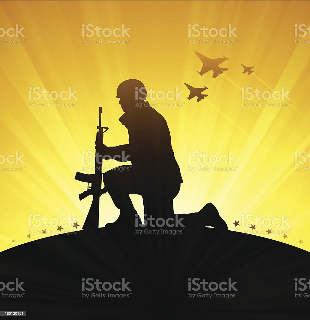 Military Veteran vector art illustration