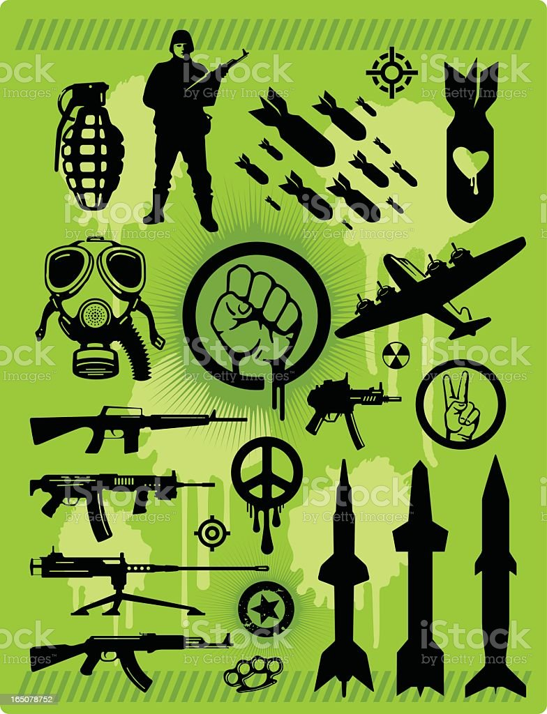 Military war and weaponry icon set vector art illustration
