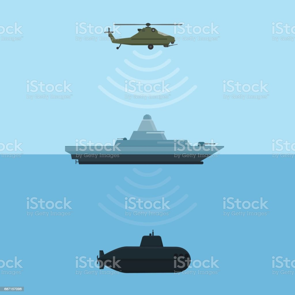 Military weapon detection technology with ship submarine and helicopter. Vector illustration. vector art illustration