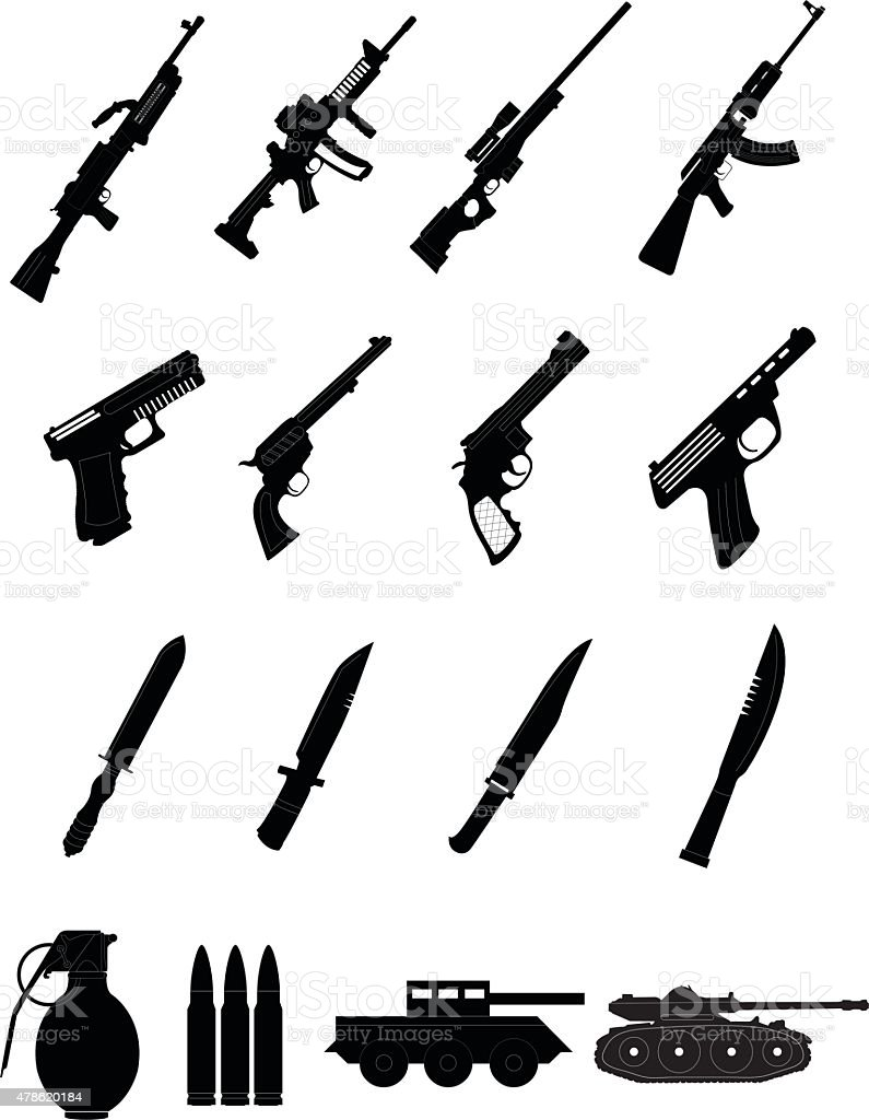 Military weapons icons set vector art illustration