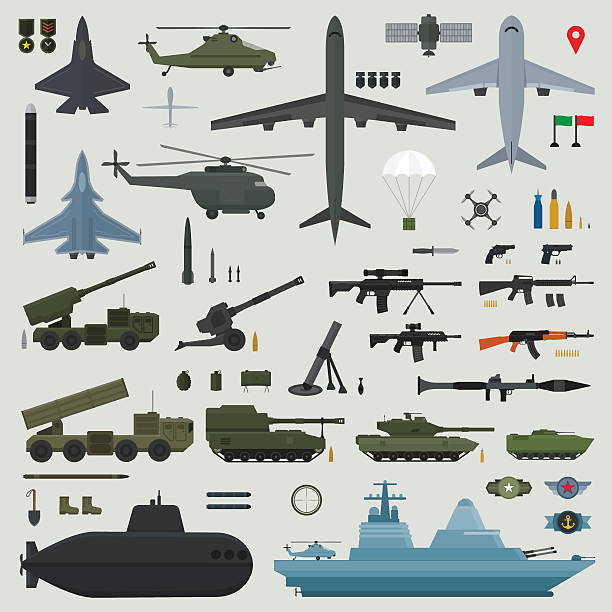 Military weapons of Army naval and air force Military weapons of Army naval and air force - vector illustration weapon stock illustrations