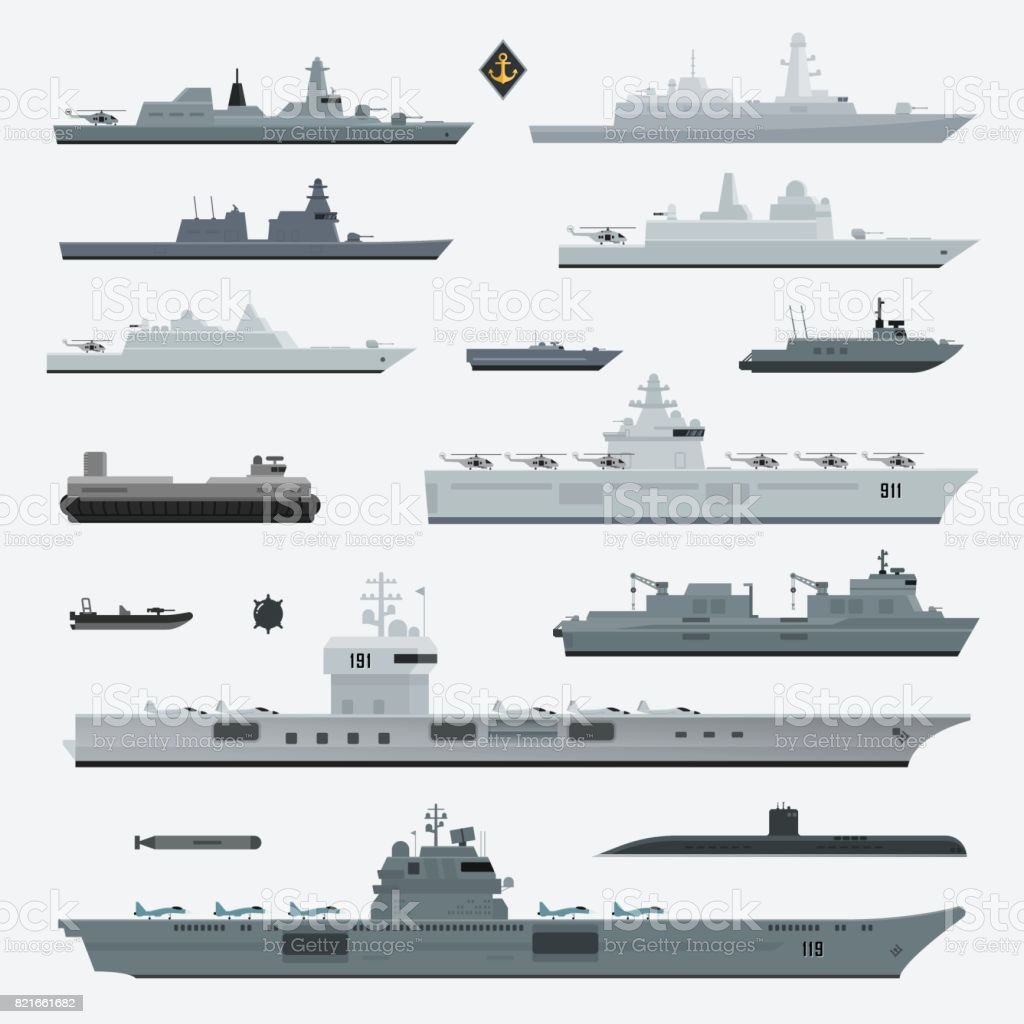 Military weapons of navy battleship. Vector illustration. vector art illustration