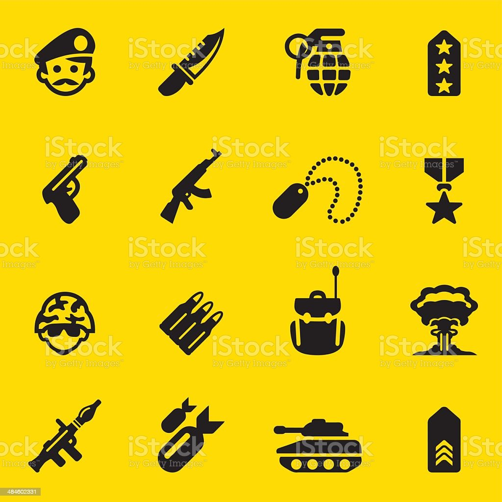 Military Yellow Silhouette icons 1 vector art illustration