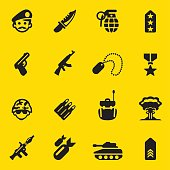 Military Yellow Silhouette icons 1