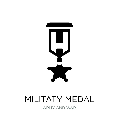 militaty medal icon vector on white background, militaty medal trendy filled icons from Army and war collection