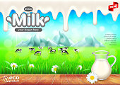 Milk ads. Jug on wooden table, green field vector background