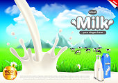 Milk ads. Milky splashes and green field vector background