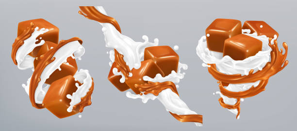 Milk and caramel splashes, 3d realistic vector Milk and caramel splashes, 3d realistic vector caramel stock illustrations