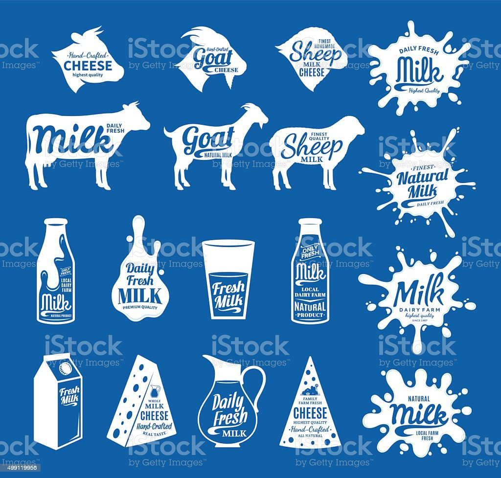 Milk and Cheese Labels, Icons and Design Elements vector art illustration
