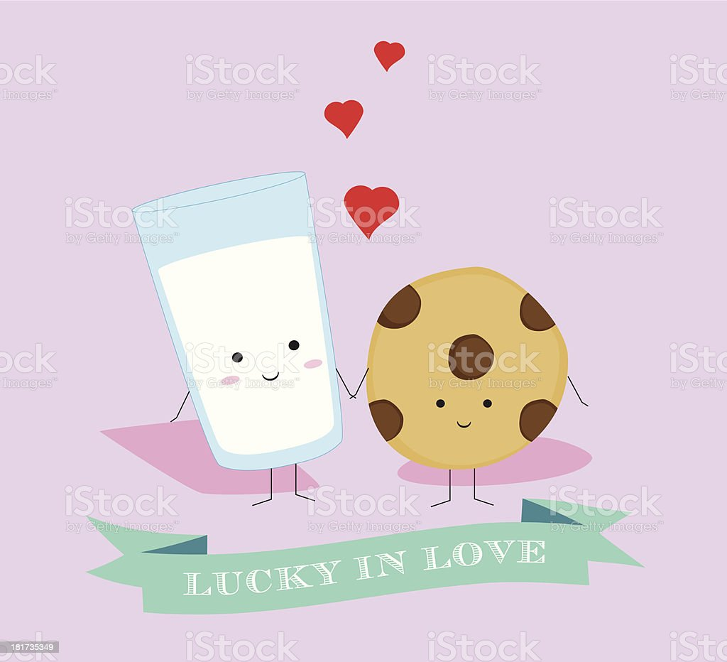 Milk and Cookies in Love vector art illustration