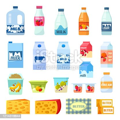 Milk bottles and dairy food, vector flat isolated icons. Cow milk in plastic bottle and carton box, fruit yogurt with breakfast snacks, sour cream in cup, cheese and butter, organic natural farm food