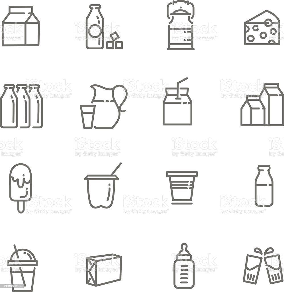 Icônes de lait et de produits laitiers - Illustration vectorielle