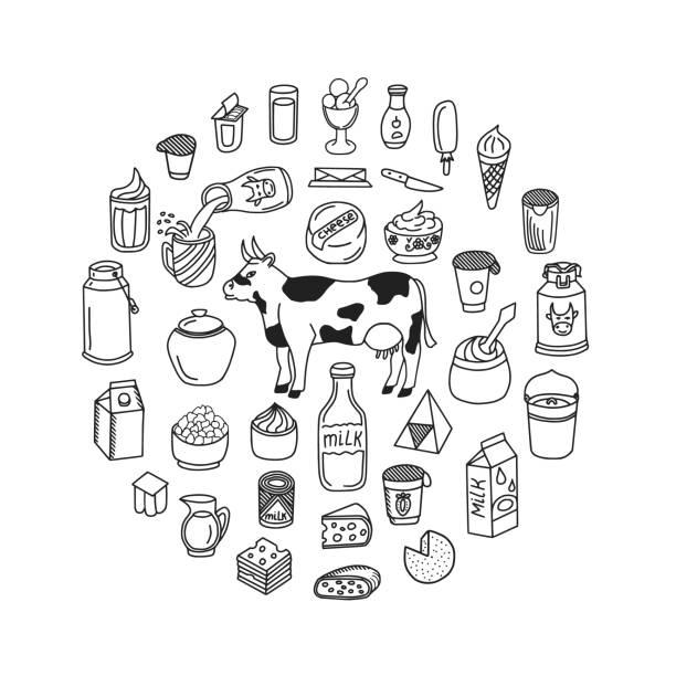 우유 및 유제품 낙서 세트 - 유가공 식품 stock illustrations