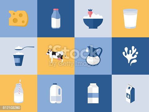 istock Milk and dairy products icons for graphic, web and logo 512103280