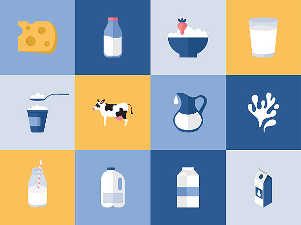 bildbanksillustrationer, clip art samt tecknat material och ikoner med milk and dairy products icons for graphic, web and logo - kalcium