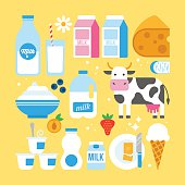 Milk and dairy products icons fro web and graphic design