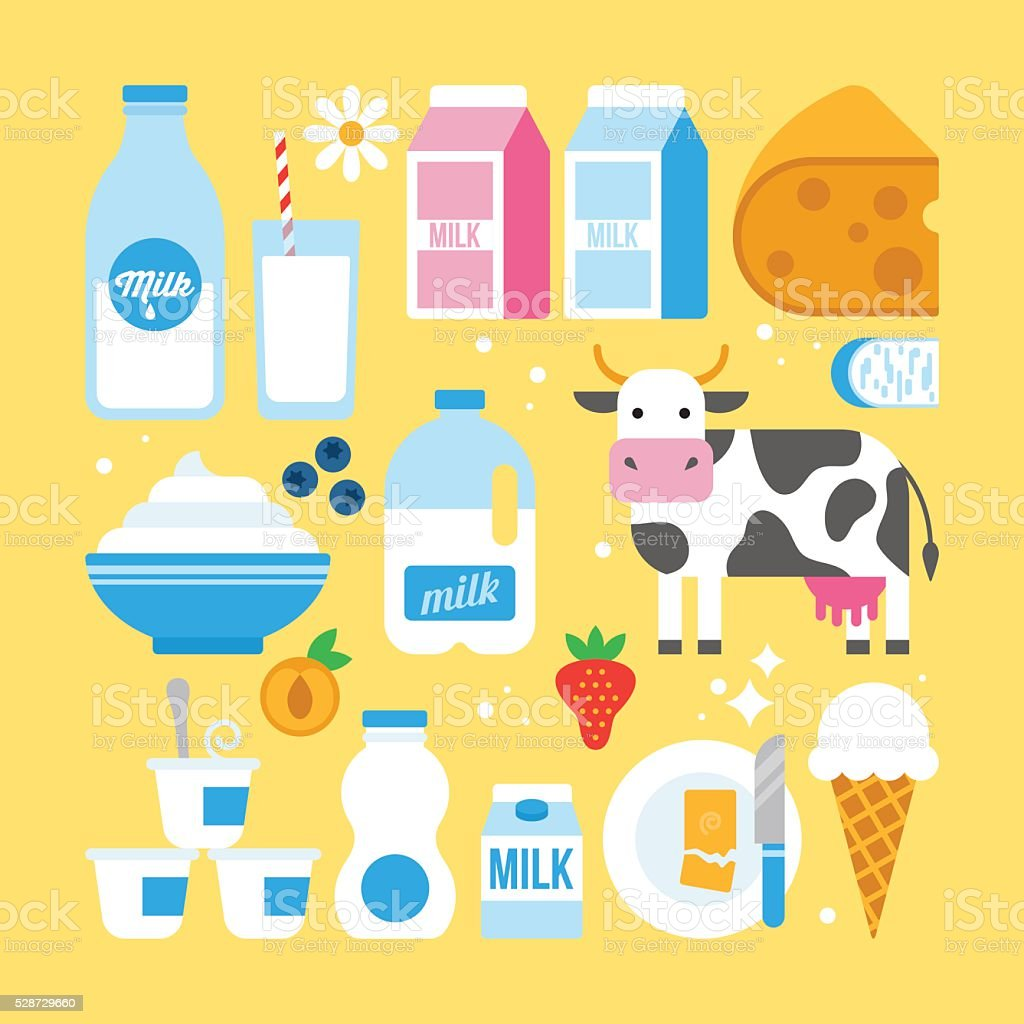 Milk and dairy products icons fro web and graphic design vector art illustration