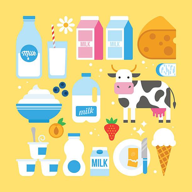 우유 및 유제품 아이콘 이리저리 웹 및 그래픽 디자인 - 유가공 식품 stock illustrations