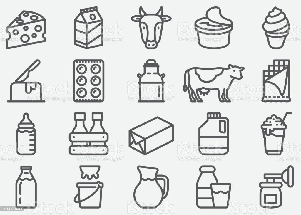 Milk and Dairy Products Line Icons vector art illustration