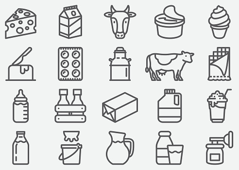 Milk And Dairy Products Line Icons - Arte vetorial de stock e mais imagens de Abstrato