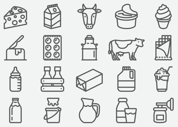 illustrazioni stock, clip art, cartoni animati e icone di tendenza di milk and dairy products line icons - formaggio