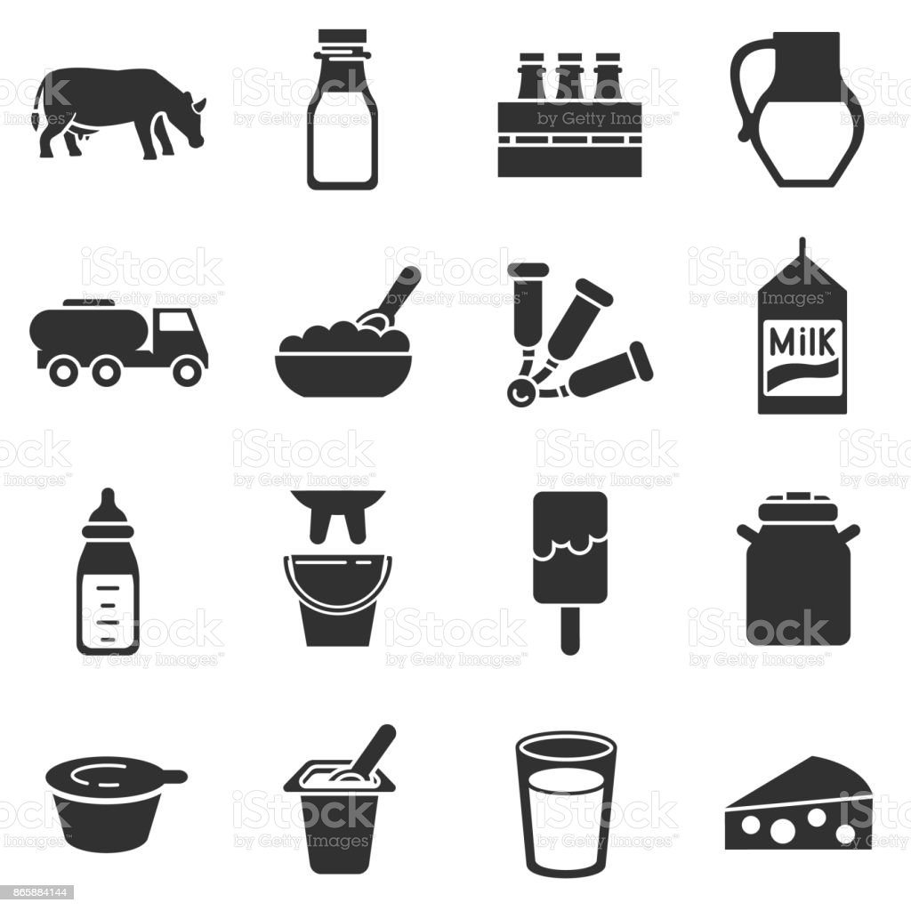 Milk and dairy products, monochrome icons set vector art illustration