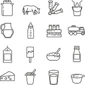 Milk and dairy products. set of line icons