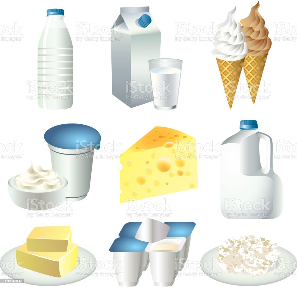 milk and dairy products vector set vector art illustration