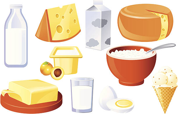 Milk And Farm Products Vector Art Illustration Tags Banners Homemade Cottage Cheese