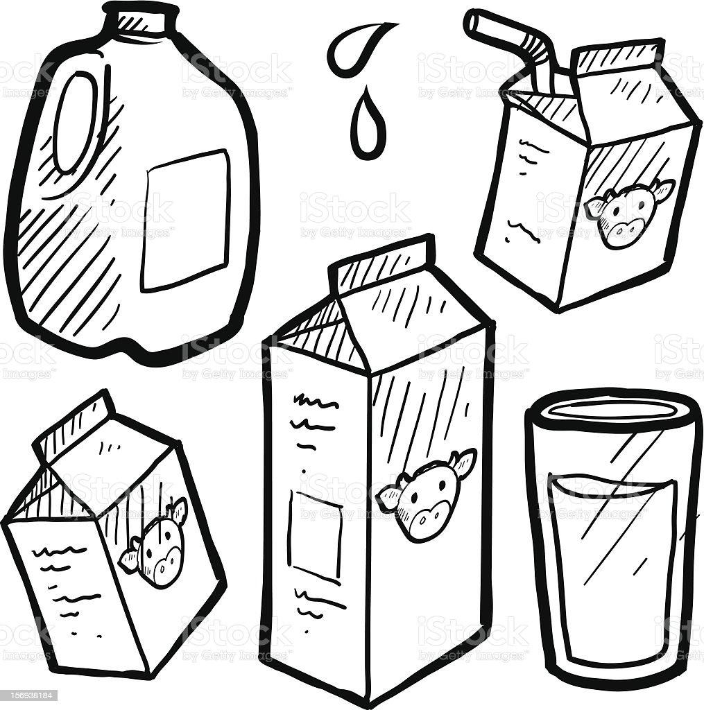 Milk and juice cartons sketch vector art illustration