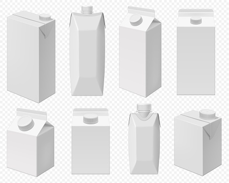 Milk and juice pack. Realistic carton package