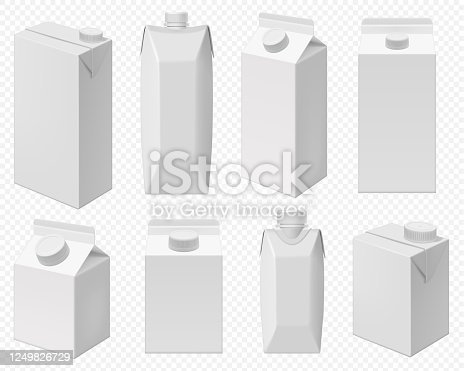 istock Milk and juice pack. Realistic carton package 1249826729