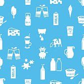 milk and milk product theme icons seamless pattern eps10