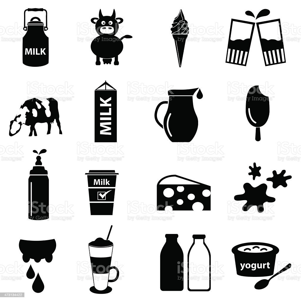 milk and milk product theme icons set eps10 vector art illustration