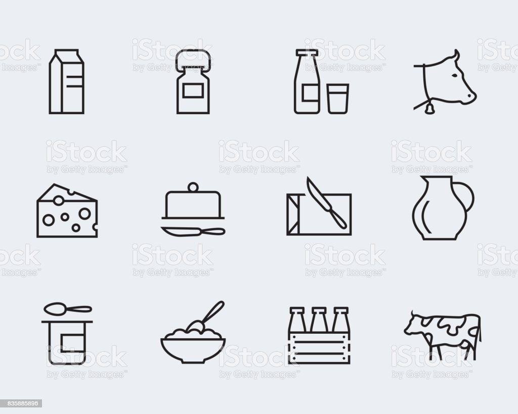 Milk and other dairy products vector icon set in thin line style