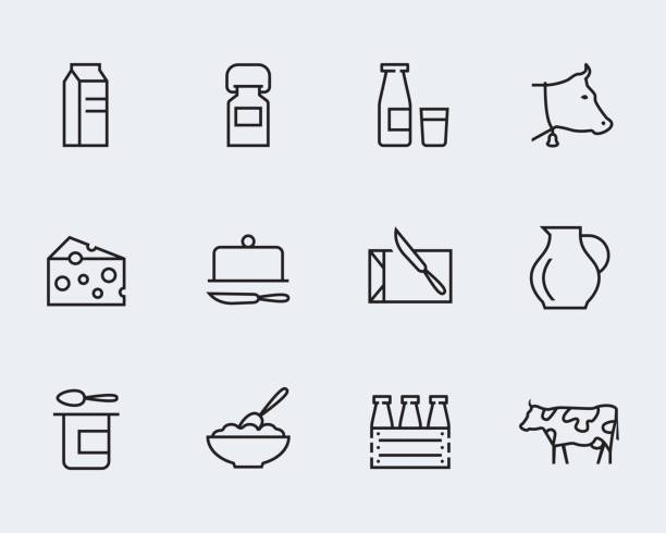 illustrazioni stock, clip art, cartoni animati e icone di tendenza di milk and other dairy products vector icon set in thin line style - formaggio