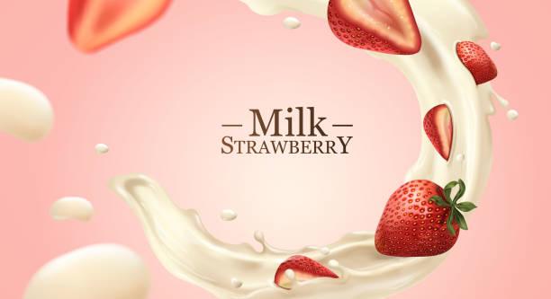 ilustrações de stock, clip art, desenhos animados e ícones de milk and strawberries effect - morango