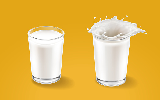 Milk and transparent cup elements isolated on warm background. Liquid splash in glass cup. Milk pours out. Vector 3d realistic illustration