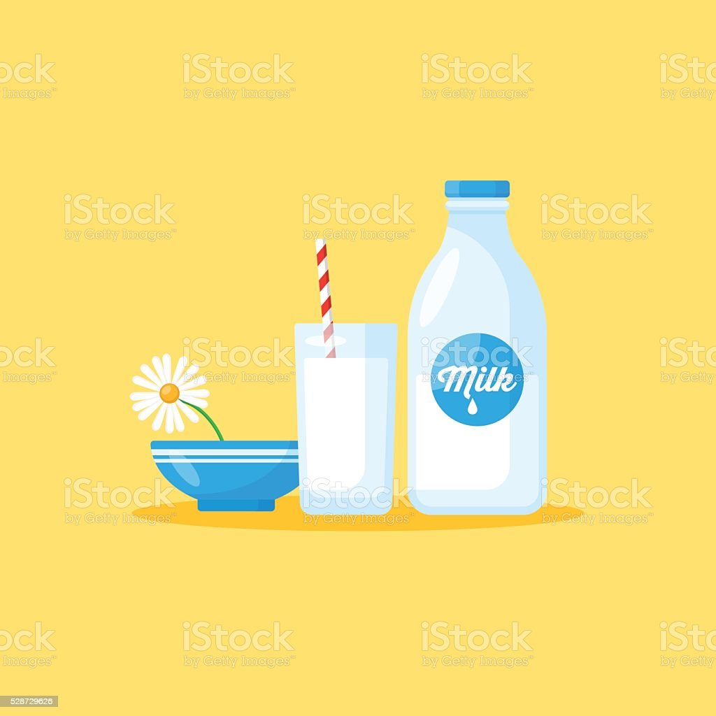 Milk bottle and milk glass, healthy eating concept vector art illustration