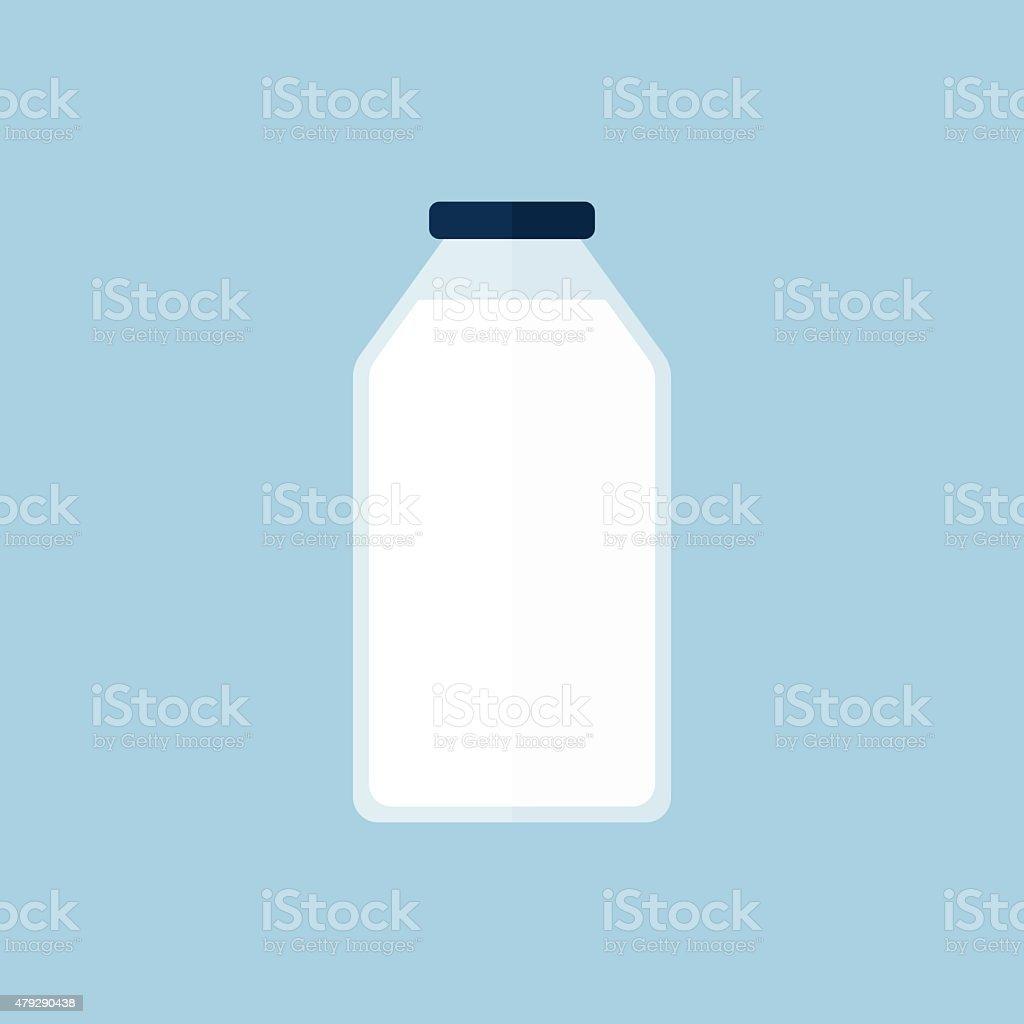 Milk bottle icon, modern minimal flat design style, vector illustration vector art illustration
