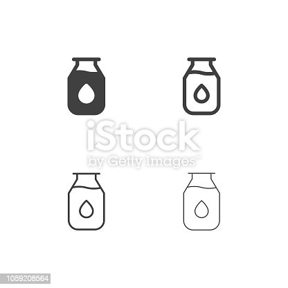 Milk Bottle Icons Multi Series Vector EPS File.