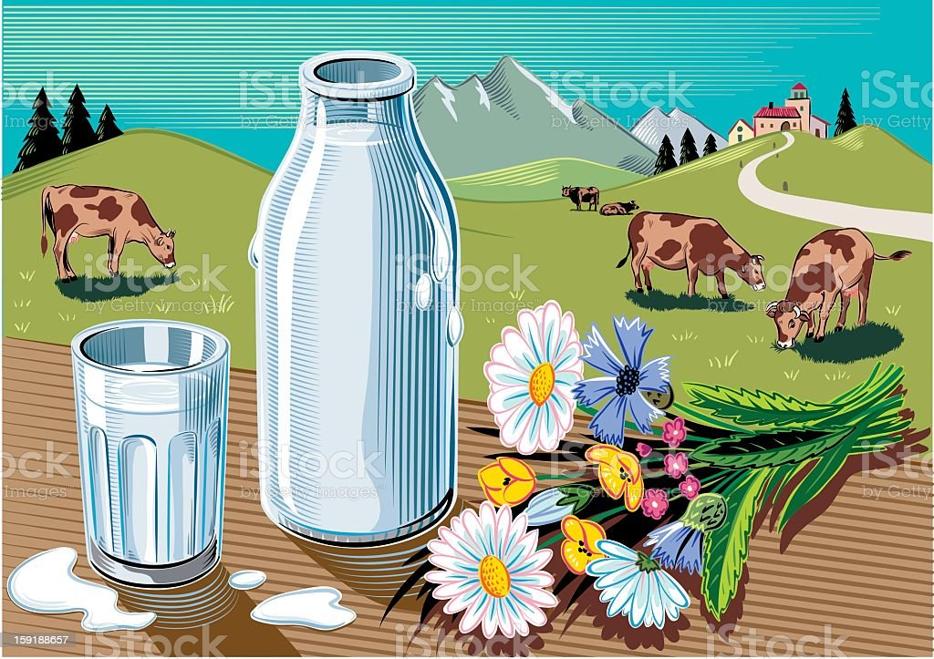 milk bottle in landscape royalty-free milk bottle in landscape stock vector art & more images of agriculture