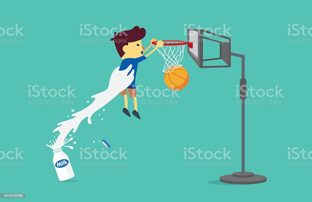 Milk bottle lifting a boy to shoot a basketball. vector art illustration