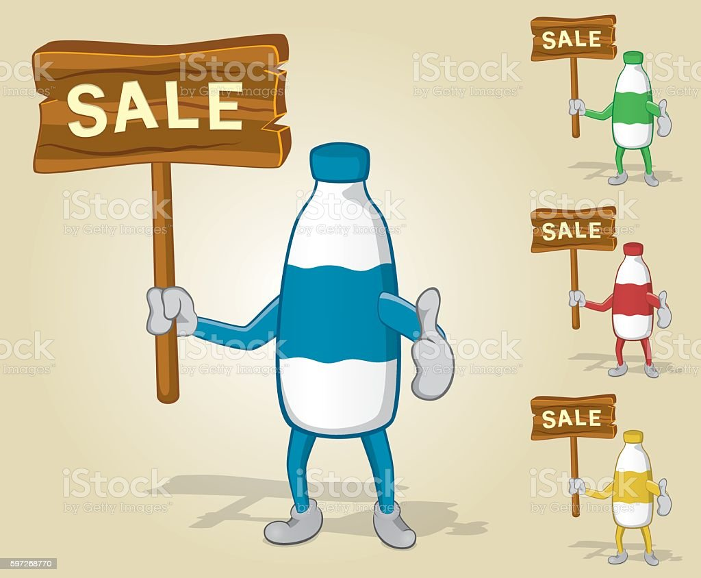 Milk Bottle Sale Thumb Up royalty-free milk bottle sale thumb up stock vector art & more images of activity