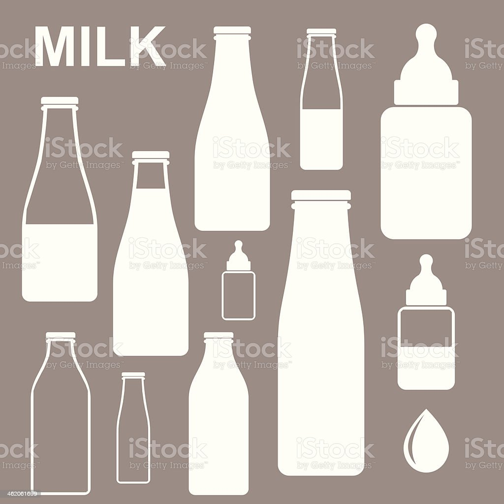 Milk. Bottle vector art illustration