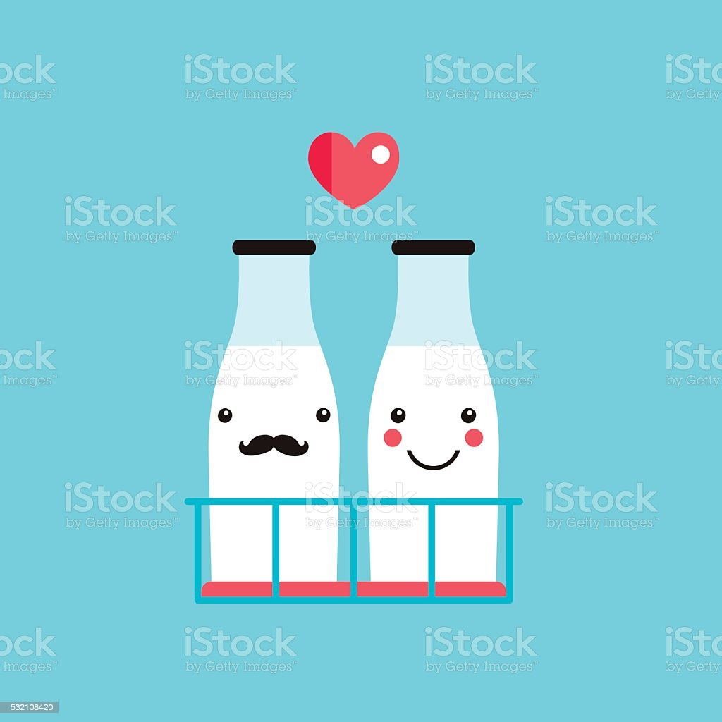 Milk bottles couple cute hipster cartoon characters with mustache smile vector art illustration