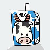 Milk box cartoon vector illustration doodle style