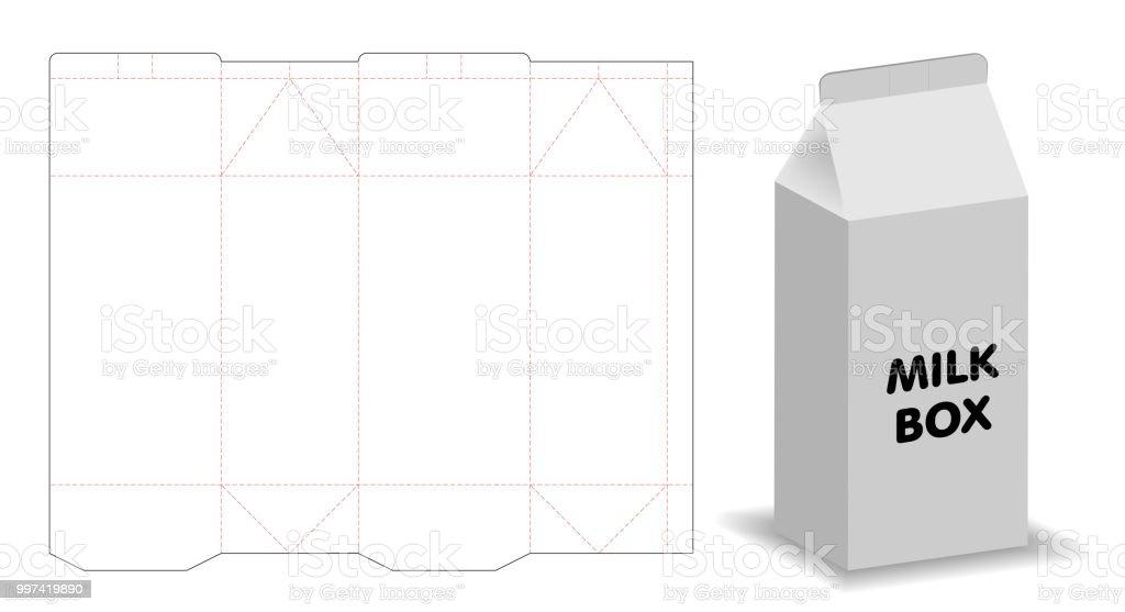 dieline ミルク ボックス テンプレート 3 d モックアップ からっぽの